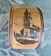 Abo Turku Finland Mauchline Ware Wood Napkin Ring Souvenir Vintage Antique