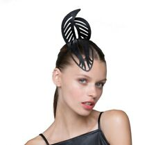 Black Laser cut leather Crown Fascinator for melbourne cup feather design modern