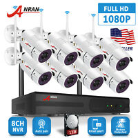 ANRAN 8PCS 1080P Security Camera System Wireless Outdoor CCTV 6 8PCS 8CH NVR 1TB