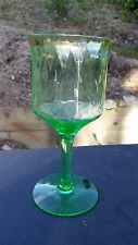 "Green Diamond Optic Goblet 6 3/4"" Tall 10 oz. Stem Water With Gold Band"