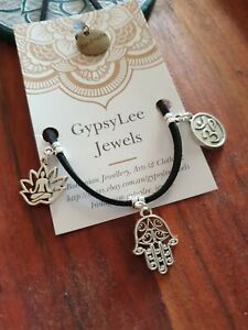 Anklet Yoga Ohm Om Hamsa Hand Lotus Flower GypsyLee Jewels Leather Tie Up Gift