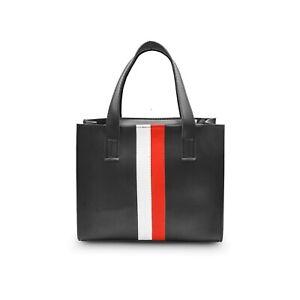 Women Ladies Faux Leather Shoulder Strip Handbag Tote Bag