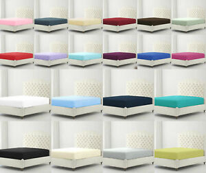 """Extra Deep 15""""-18"""" Elastic Fitted Sheet Full Bed Sheets Single Double All Size"""