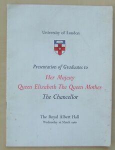 1960 University of London Queen Mother presentation in Albert Hall to graduates