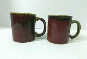 Pier 1 Crackle Collection Coffee Mug Cups Set of 2 Rustic Stoneware