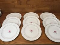 "9 Royal Swirl Fine China Of Japan - 10 1/4"" Dinner Plates - Pink Rose"