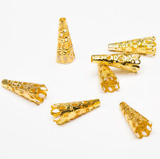 100PCS Silver/Golden Plated Bugle Filigree Cone Bead Caps Jewelry Findings