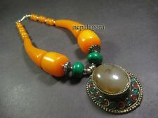 N4724 TIBET Amber Color Resin BOLD Tribal BOHO Style Statement Pendant Necklace