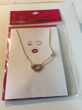 $25 Betsey Johnson Holiday Gift Collection   Gold Tone Pave lips Card BC-7