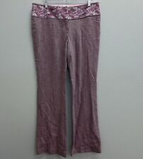MARCIANO Purple Rose Pink Tweed Embroider Floral Waist Pants - 12