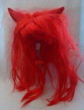 Pet Devil Red Wig with Horns Long Bangs Dog or Cat Halloween Costume