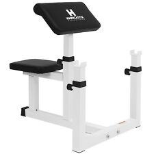 Hardcastle White Adjustable Preacher Curl Bench - Improve Bicep Gym Workouts