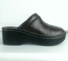 Drexlite Brown Leather Clog Mule Slide Loafer Wedge Shoes Women's 7.5