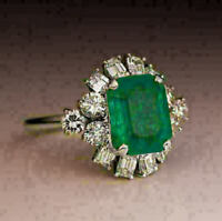 14K White Gold Over 3Ct Emerald Cluster Vintage Art Deco Engagement Wedding Ring