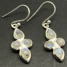 Natural rainbow moonstone Drop Earrings, Solid Sterling Silver, Actual Ones, New