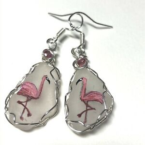 Pink Flamingo earrings - Hand painted sea glass - Choice of dangle or studs