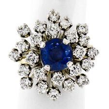 Vintage 14K TT Gold 3.26ctw Round Sapphire Diamond Tiered Snowflake Cluster Ring
