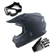 1Storm Adult Motocross Helmet Motorcross MX BMX Bike Matt Black+Gloves+Goggles