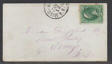 **US RPO Cover, Scott #147, Part Mississippi Central RR Cancel to New York