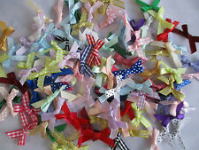 50 assorted SMALL Ribbon Bows assorted colours Satin gingham polka dot mixed