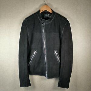 BLK DNM Black Suede Leather Biker Bomber Jacket Size Medium BNWT