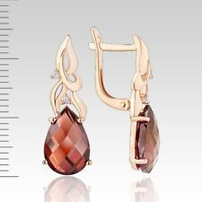 Ohrringe mit Granat Rose Rotgold Gold 585 und CZ Tropfen Briolett Neu Glänzend