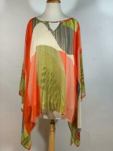 IC COLLECTION by CONNIE K Bright Multi Color Print Poncho Tunic Top Size 2X