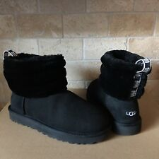 UGG Mini Fluff Quilted Cuff Black Suede Sheepskin Ankle Boots Size 10 Womens