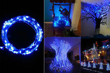 BLUE 2m Micro LED Battery Operated String Lights Silver Copper Wire Xmas Decor