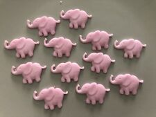 Edible Sugarpaste Pink Elephants Cake Topper - X 12