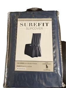 SUREFIT LONG SLIPCOVER FOR ARMLESS DINING CHAIR W/BACK TIES - BLUESTONE