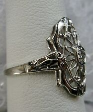 Antique Art Deco 1920's Filigree White Gold 14k Diamond Ring Size 6, Make Offer!