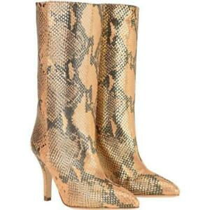 Women Pointy Toe Stilettos Heel Pull On Mid Calf Boots Party Snakeskin Pattern L
