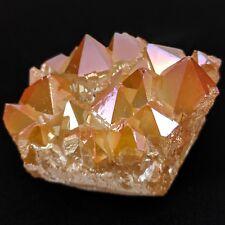 GEMCORE: One(1) XL Tangerine Aura Flame Quartz Gold Iron Druzy Cluster Chakra
