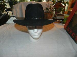 """Vintage Stetson """"The Gun Club"""" Black Western Style Hat XXXX 6 7/8 4X  Excellent"""