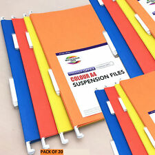 20 x A4 Suspension Files Mixed Colour + Tabs/Inserts Hanging Cabinet Files