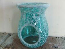 Turquoise Crackle Mosaic Oil Burner for soy melts/ fragrance oil/ tea lights