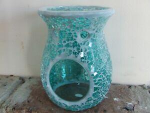 Turquoise Crackle Mosaic Oil Burner for soy melts/ fragrance oil/ tea lights
