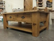 RECLAIMED 4' x 3' COFFEE TABLE - DRAWERS & SHELF HAND MADE BESPOKE SIZES COLOURS
