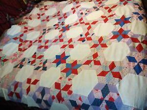 Vintage Handmade Hexagon Star Quilt Top