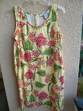 Pineapple Moon Shift Dress Yellow Silk w/ Tropical Flowers M