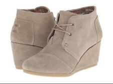 TOMS Women's Desert Taupe Suede Booties Lace Up Wedge Ankle Size 5