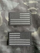 New listing Military Ir Style Black Us Flag Patch Set Laser Cut American Police Tactical Usa