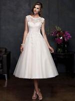 ELEANOR Ivory White Tulle Vintage 50's Inspired Tea Length Wedding Bridal Dress