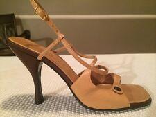 Women's CASADEI Italian Leather Open Toe Heels Nude Size 7.5m