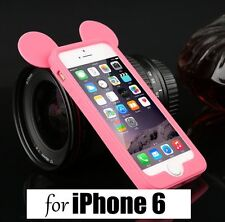 For iPhone 6 / 6S - SOFT SILICONE TPU RUBBER BUMPER CASE PINK MICKEY MOUSE EARS