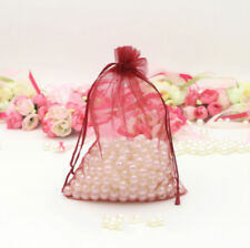 100x Burgundy Organza Pouch Bags Wedding Favors Party Gift Commercial Packaging