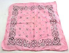 Vintage Pink Western Square Scarf 100% Cotton Bandana USA