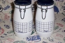 Pair Canisters Vintage Wheaton Milk Glass FLOUR & SUGAR Blue Lid Grid 1.5L EUC!