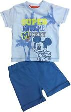 BABY BOYS DISNEY MICKEY MOUSE 2PC SHORTS T SHIRT EX UK STORE OUTFIT SET NEW
